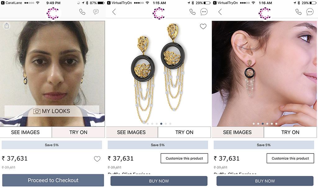 Trying The Eclipse Earring From Caratlane On Their Virtual Mobile App.