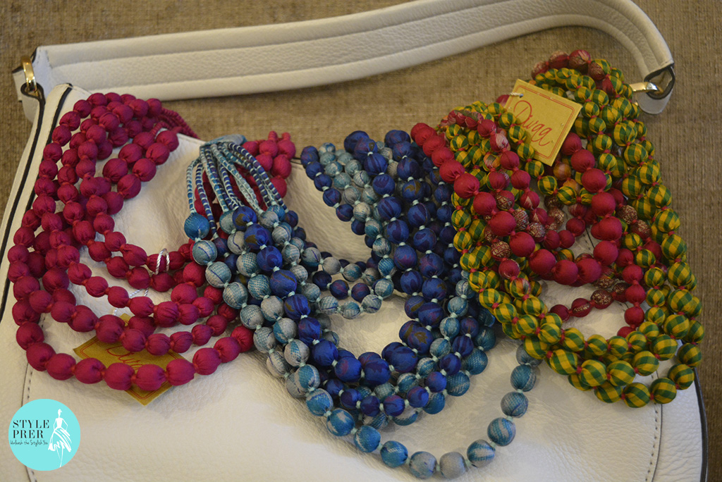 Fabric & Bead Layered Multi-Color Necklace-Divaa.
