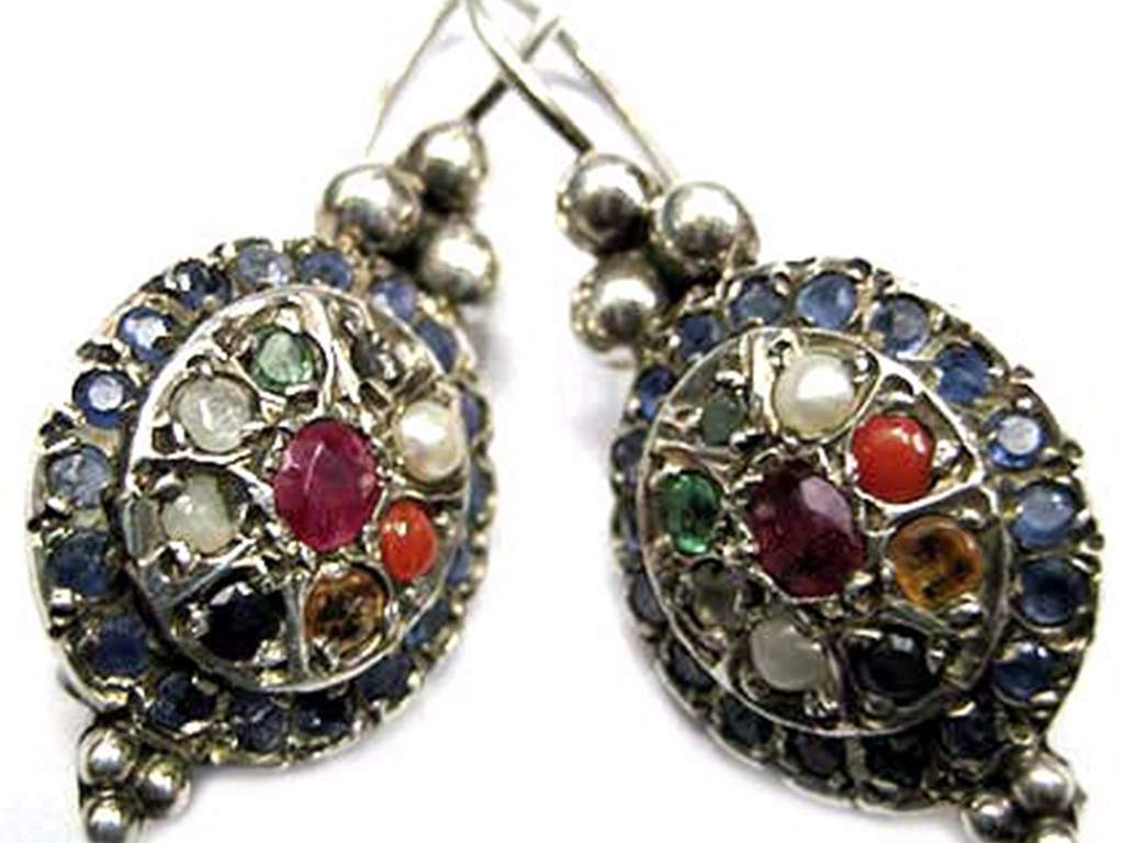 Navratna Silver Earrings-Google