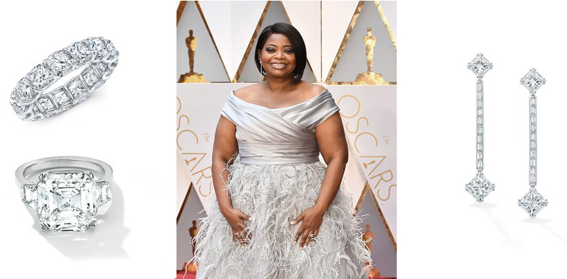 Octavia Spencer completed her shimmering red carpet look with delicate drop earrings set with Princess Cut diamonds and platinum and white gold diamond rings. PC-ForeverMark And StylePrer