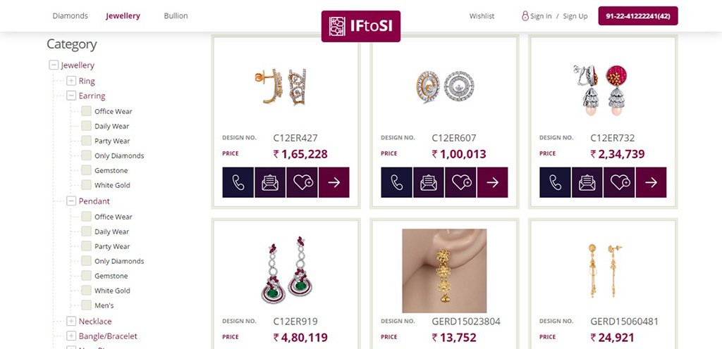 Product Listing With Product Details And Jeweller Contact Information