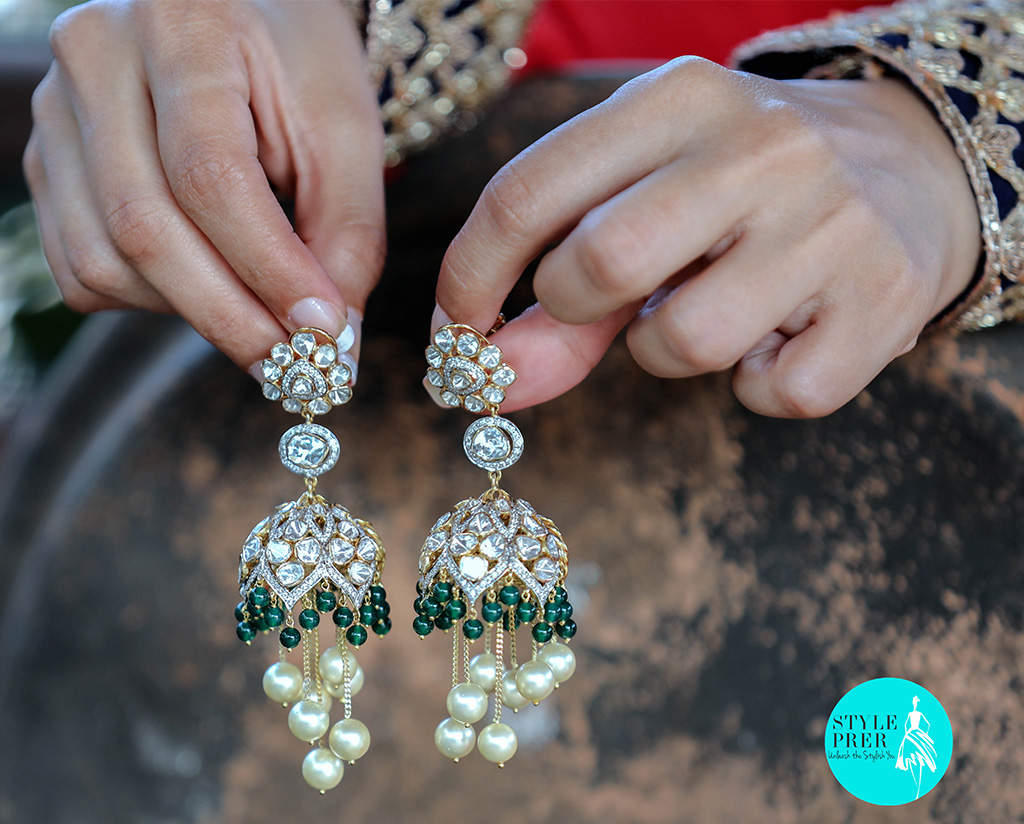 Polki (Uncut Diamond), Diamond, Emerald And Pearl Danglers From Tsifira