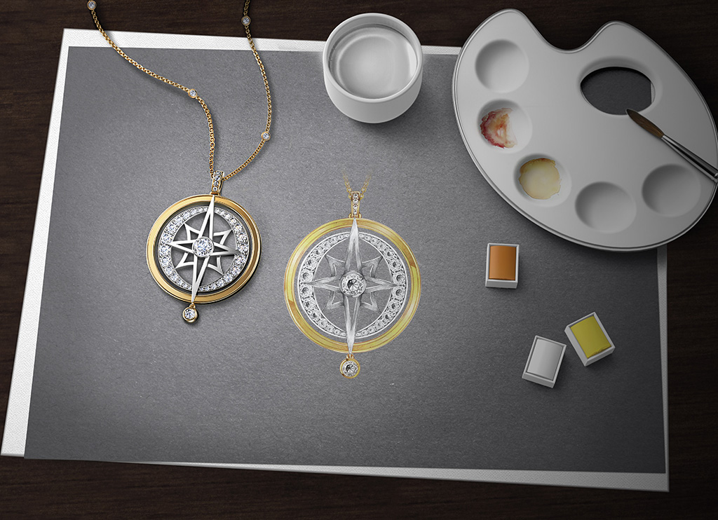 Paint Rendering Sketch And Diamond Pendant From The Forevermark Artemis Collection Sketch. PC-Sawansukha Jewellers
