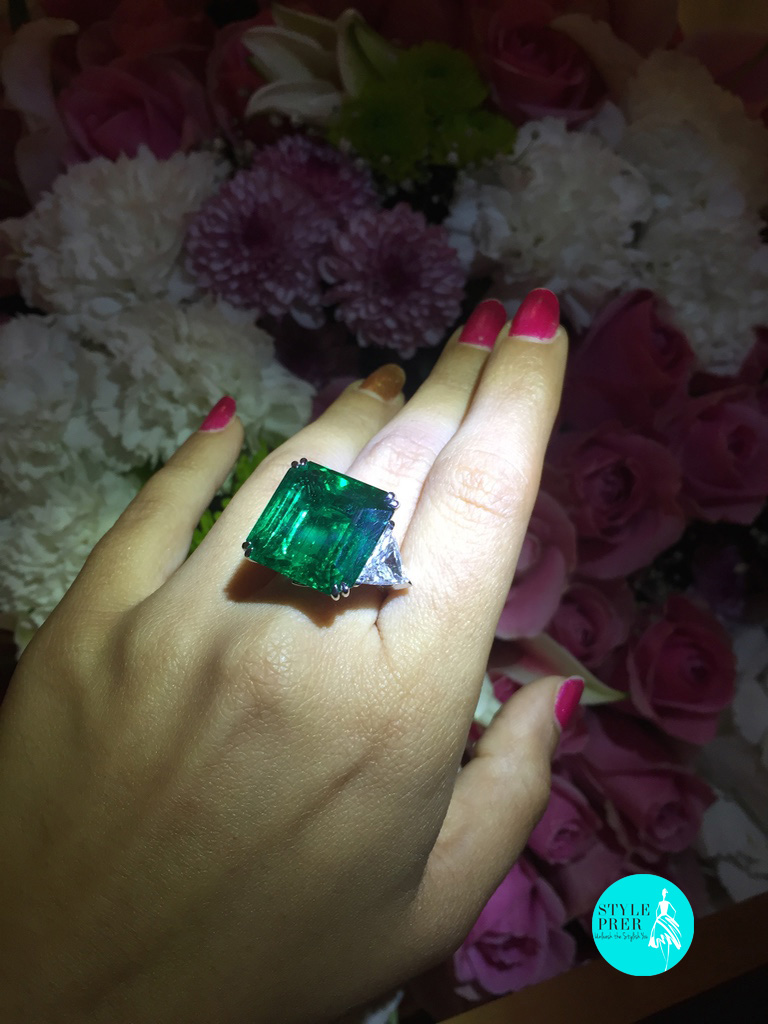 Gemfields Emerald Ring With Trillion Shaped Diamonds.