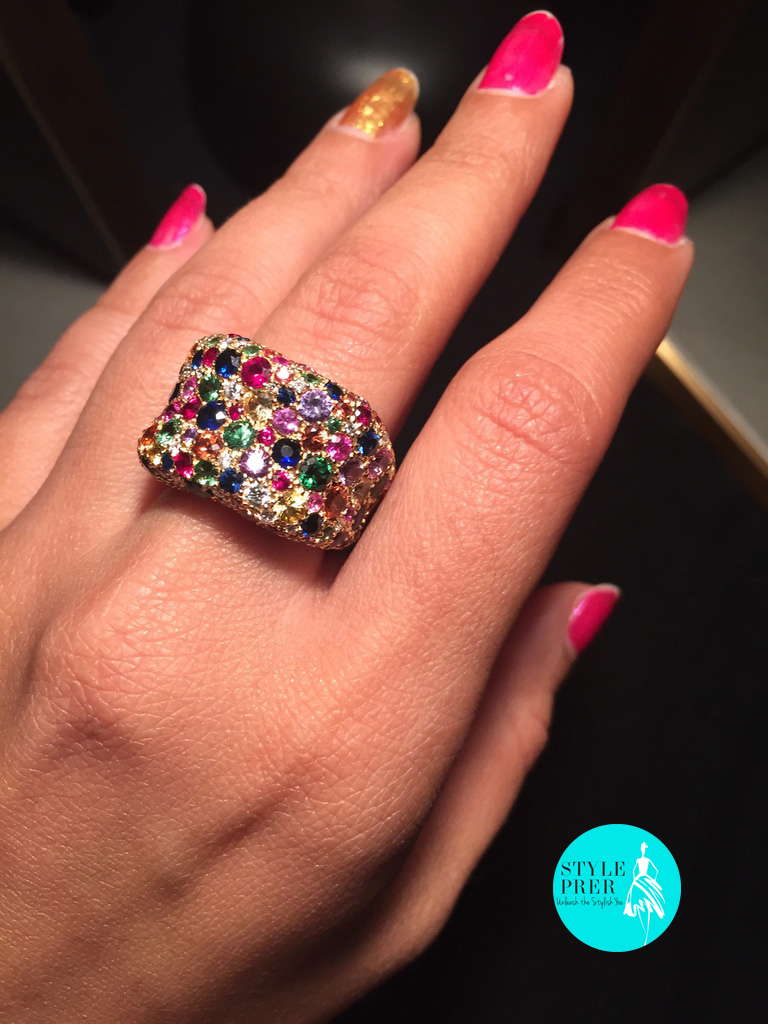 Fabergé Emotion Multi Coloured Pave Set Gemstone Ring