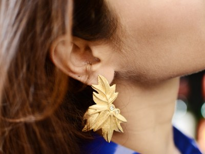 Gold Plated Floral Silver Earrings From Velvetcase.