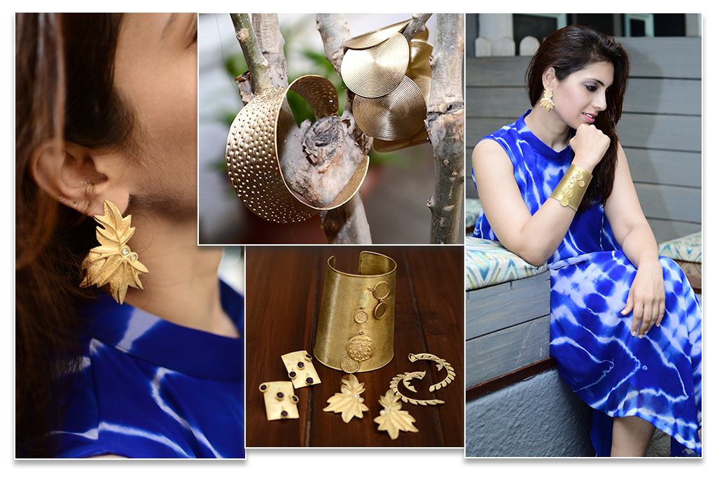 Wearing Blue Lehariya Asymmetric Dress Contrasting With Textured Gold Plated Silver Jewelry From Velvetcase