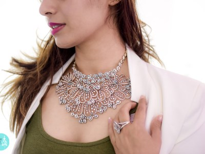 Inspired From Floral Motifs Is A Bridal Diamond Necklace Set With Forevermark Diamonds By BR Designs