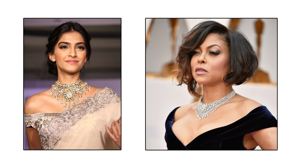 Taraji P Henson and Sonam Kapoor wear their necklace with pride for an off-shoulder outfit
