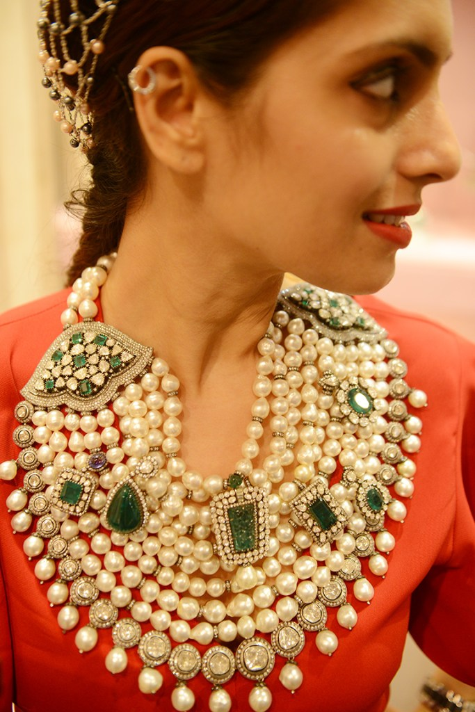 Polki Jadav, Emerald And Pearl Rani Haar By Amrapali