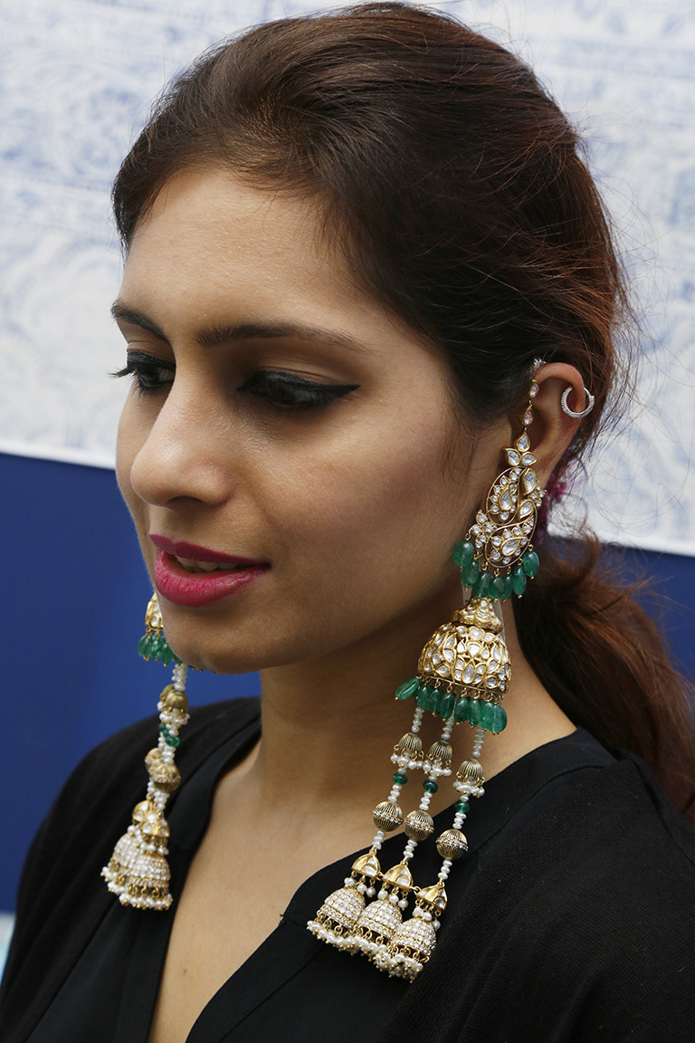 Kashmiri Jhumkas With Polki And Emeralds By Birdhichand Ghanshyamdas Jewellers