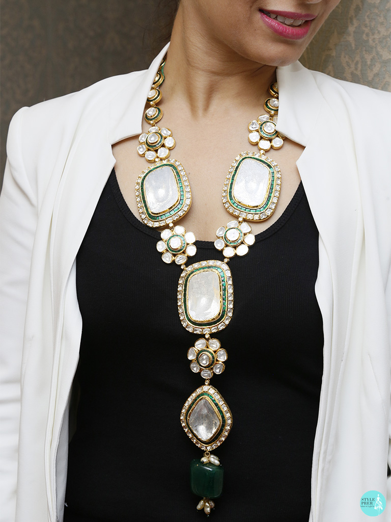 Slaying it with a 175 ct Emerald and 97 cts bold Polki bridal necklace from Rambhajo