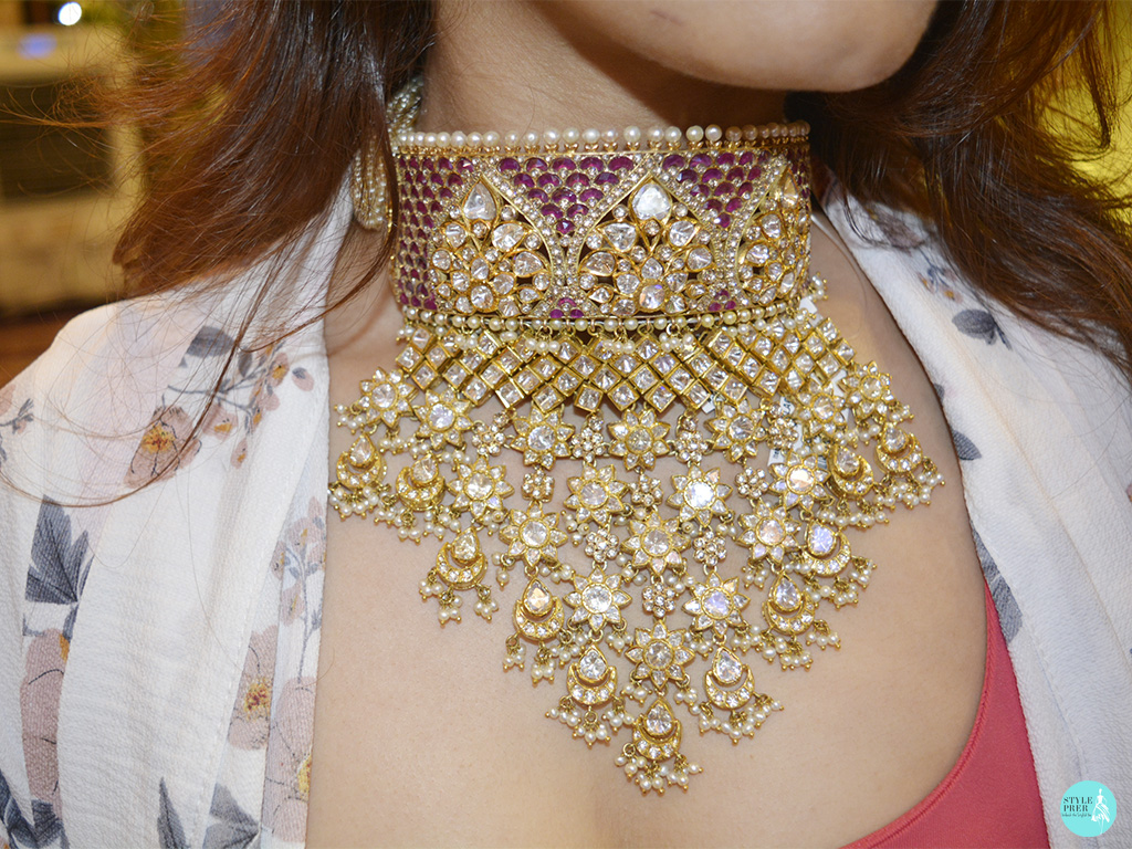 Ruby And Polki Bridal Gemstone Necklace Choker By Rare Heritage