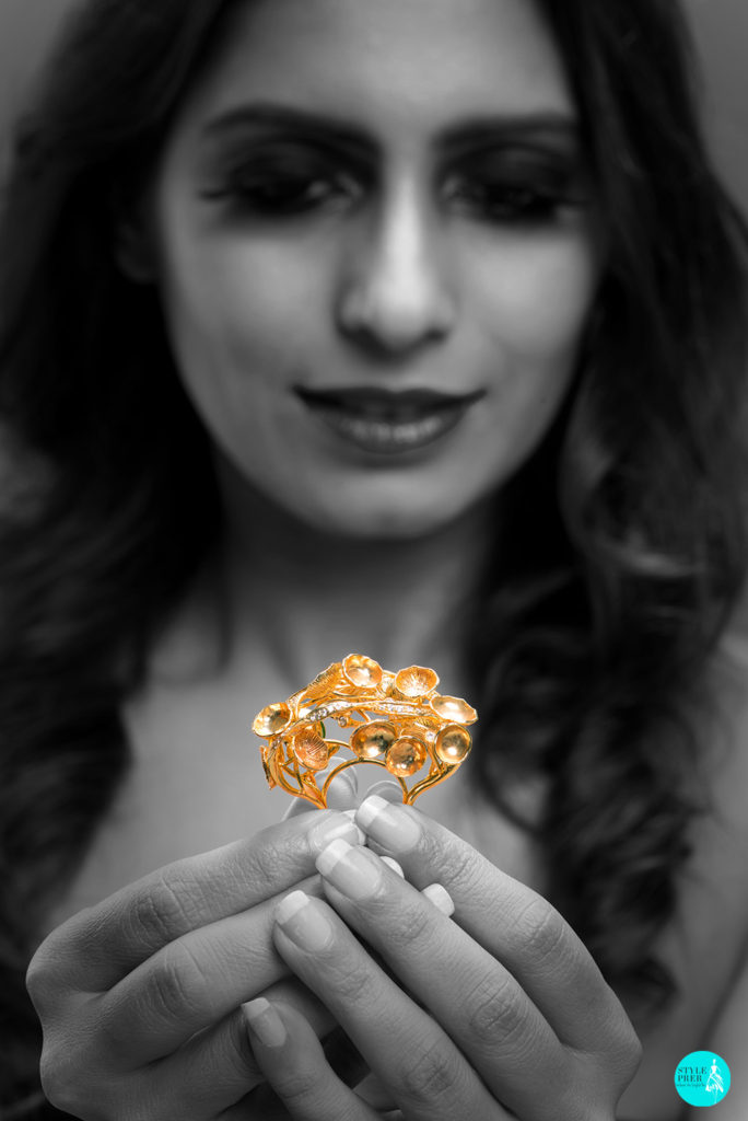 I Could Look At You All Day! Inspired From An Inverted Mushrooms And Floral Textures Is Three Dimensional Gold And Diamond Ring By Pallavi Foley