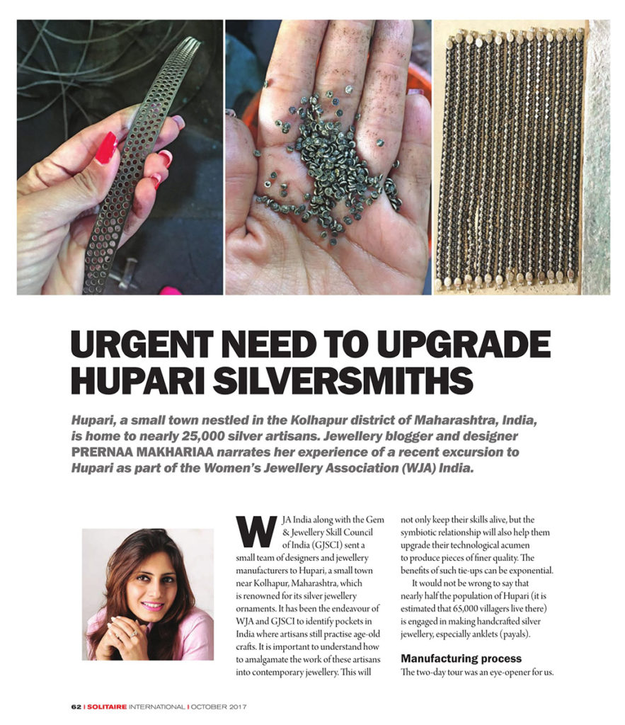 Urgent Need To Upgrade Hupari Silversmiths, Solitaire International Magazine, Page 62-64, October 2017. Images : StylePrer