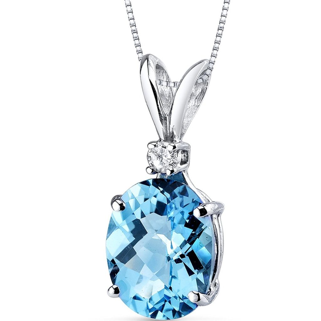 14kt White Gold Oval 3ct Swiss Blue Topaz And Diamond Pendant On Amazon