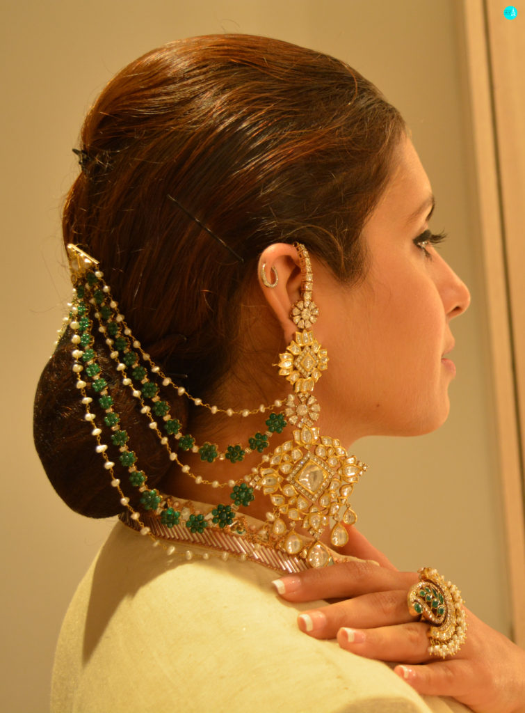 Jadav Bridal Earrings In Gold With Uncut Diamonds And Emeralds In Floral Motifs. Ensemble - Smitasha