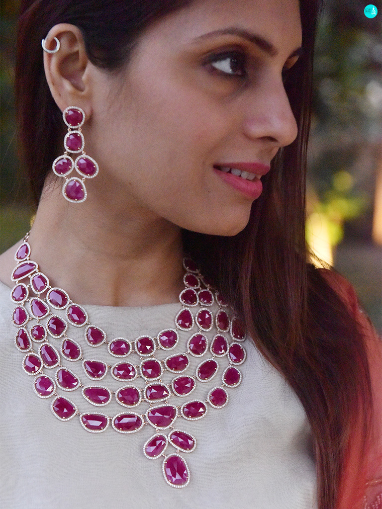 Wearing Burmese Ruby And Diamond Bridal Necklace Set From Gyan Jewels. Dress - Armuse By Ayushi