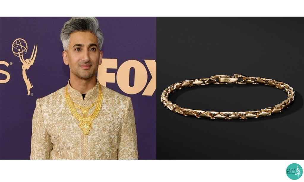 Tan France in Tarun Tahiliani Gold Necklace and Bracelet and Rings from David Yurman at Emmy Awards 2019