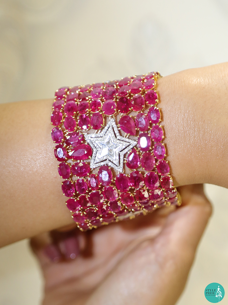 Composite Set Diamond And Ruby Cuff By Zam Gems