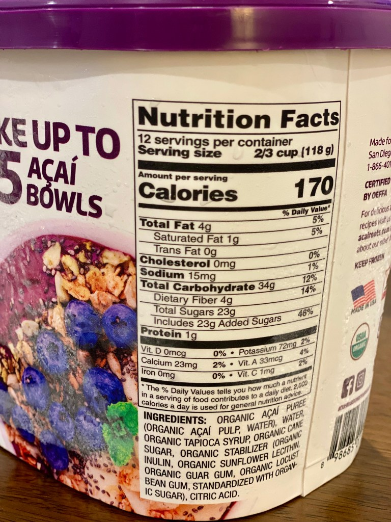 Acai Roots Acai Sorbet Nutrition Facts