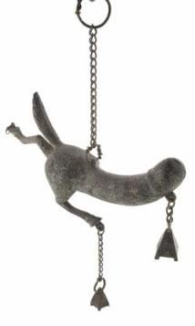 Solid bronze phallic amulet in the form of a pripus with hindquarters of a horse, suspended by a chain, with pendants attached at base. Graeco-Roman, circa 100 BC-AD 400.