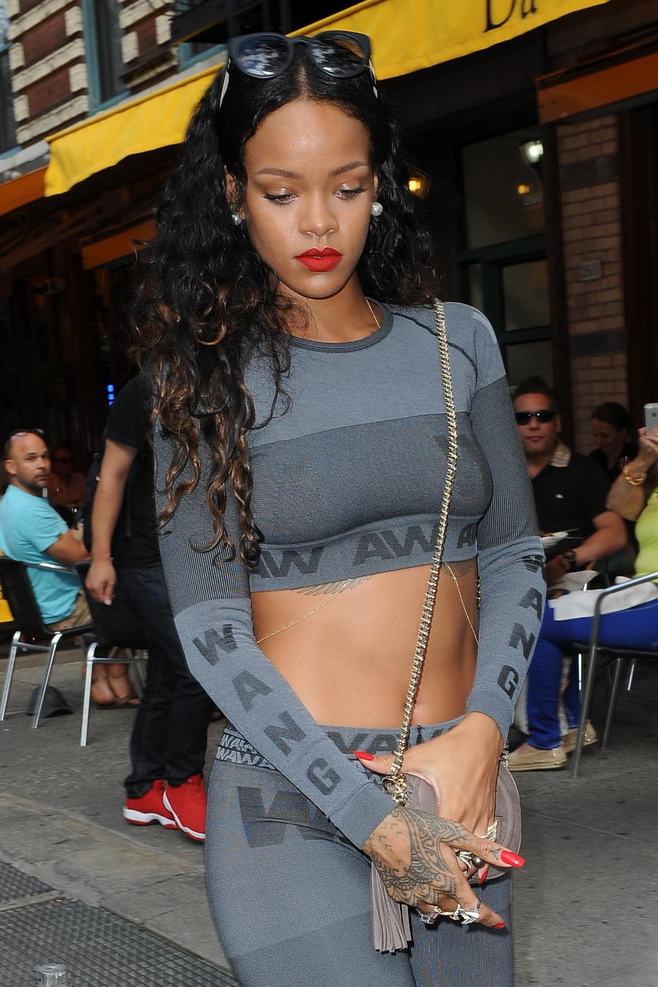 Rihanna Wearinf Alexander Wang X HM 3