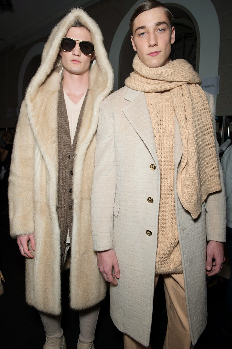 Backstage at the Versace Menswear Fall 2015 Show 4