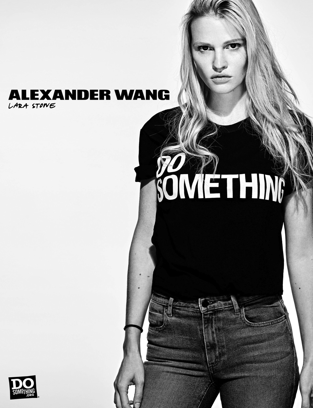 Lara Stone wears Alexander Wang x DoSomething
