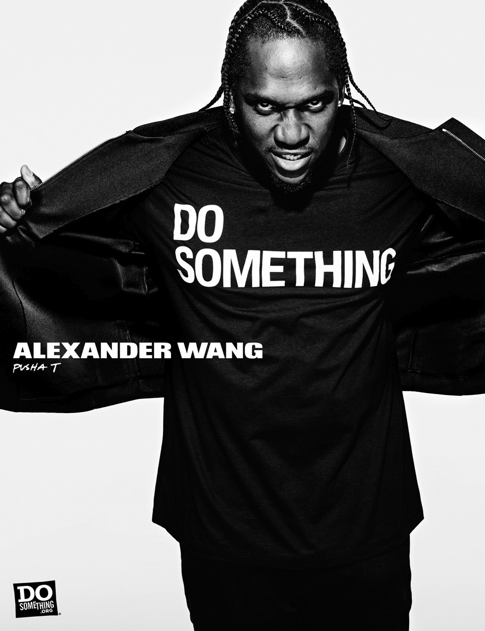 Pusha T wears Alexander Wang x DoSomething
