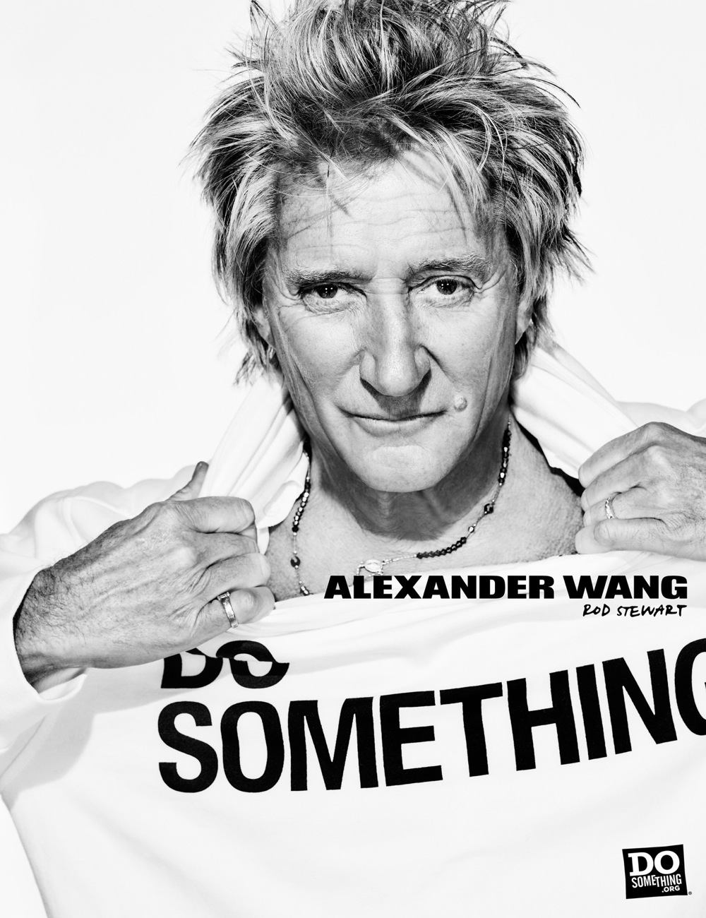 Rod Stewart wears Alexander Wang x DoSomething
