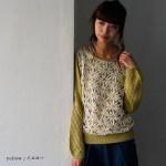 soulberry(ソウルベリー)2017春の着回しコーデ。30代・40代の大人可愛いナチュラル服。【お花レース切り替え透かし編みニットプルオーバー】
