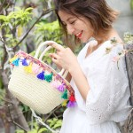 カラフルタッセルコンパクトかごバッグ。安可愛いセレブカジュアルファッションcoca(コカ)2017春夏流行のトレンドアイテム