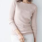 50代・60代女性に人気の大人かわいい服通販。 春のコーディネート2021 【選べるネック綿混リブニット】