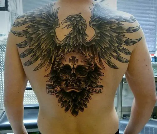 Skull With Eagle Tattoo On Back