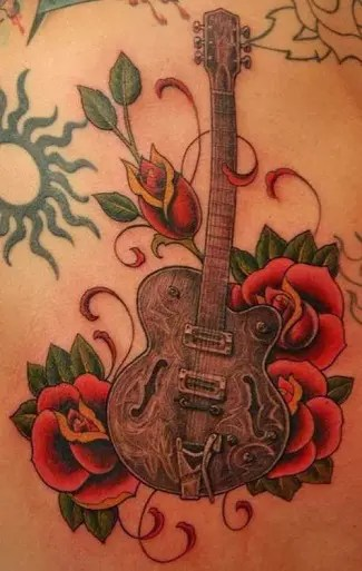 Guitar and Flowers Tattoo for Girls