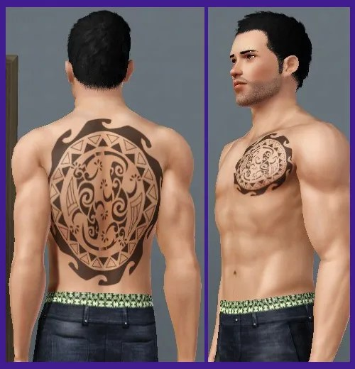 Lizard Maori Tattoo Designs On Back And Chest