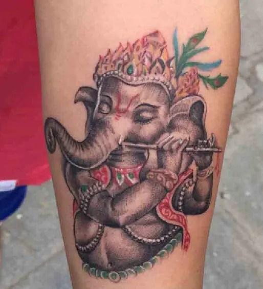 Musical Ganesha Tattoo Designs