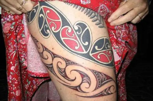 Girls Maori Tattoo Designs On Thigh