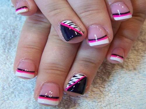 White French Tip Nail Art With Pink And Black Border