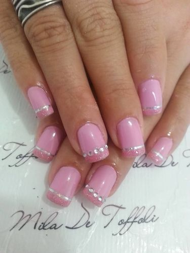 Easy Pink Tip Acrylic Nail Art Design