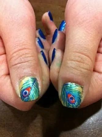 Beautiful Peacock Nail Art Designs