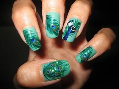 Beautiful Peacock Nail Art Designs 3
