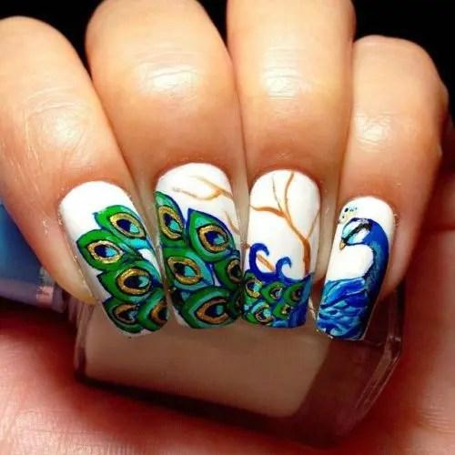 Beautiful Peacock Nail Art Designs 7