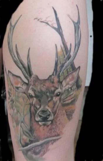 Deer Tattoo Design On Leg