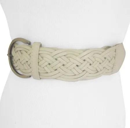 Cream Waist Braided Belt for Women's