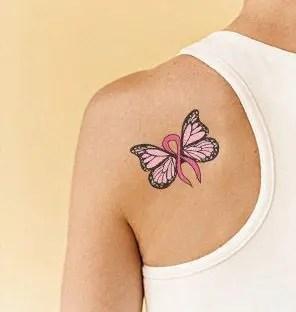 Dynamic Breast Cancer Tattoo Design