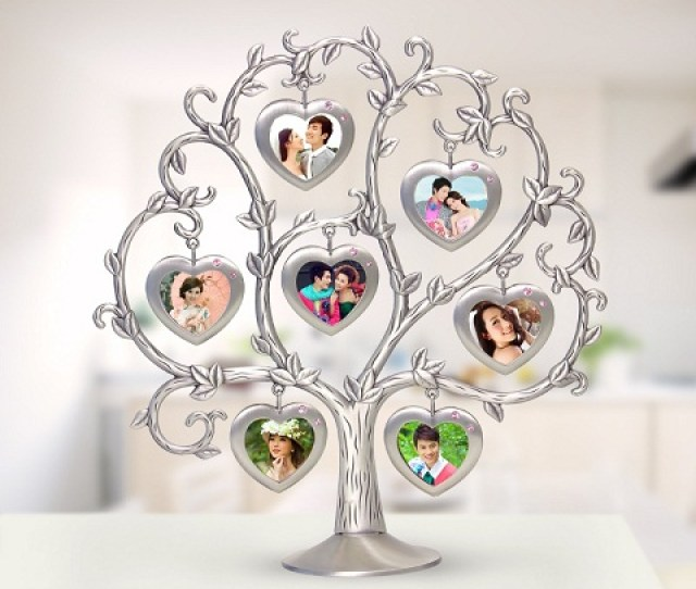 This Is A Wonderful Table Top Gift For Friends That Is Made Of Metal The Lovely Tree Shaped Object Has Several Heart Photo Frames Dangling From It