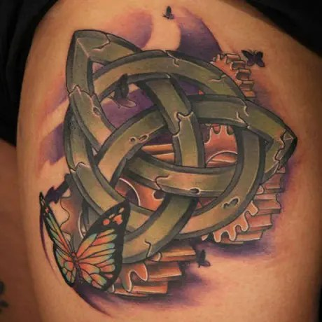 Trinity Knot with Butterfly Tattoo