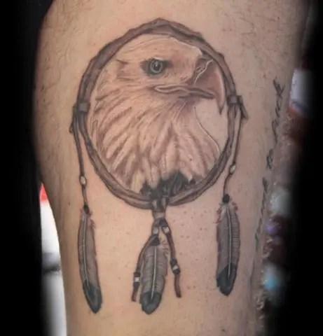 Small Eagle Dream catcher Tattoo Designs